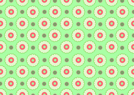 Vector illustration of  funky flowers abstract pattern on green background Vector