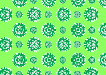 Vector illustration of  funky flowers abstract pattern on green background Stock Vector - 3943853