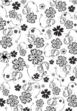 vector flowers: Vector illustration of  black  funky flowers abstract pattern on white  background