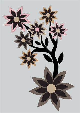 Vector illustration of floral abstract retro background. Includes flowers in the different colours and sizes Vector