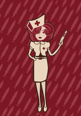 Vector illustration of  cool Attractive and sexy nurse ready to take care of you  Vector
