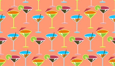 Vector illustration of funky cocktail pattern on the pink background Vector