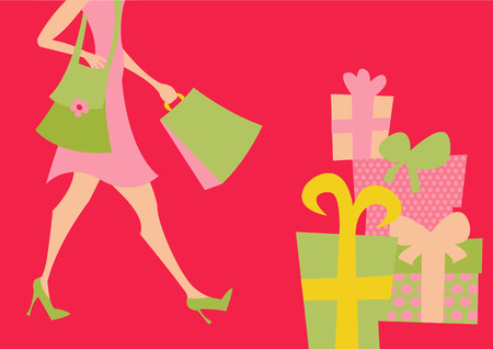 Vector illustration of shopping girl. Includes shopping bags and present boxes. Stock Vector - 3955069