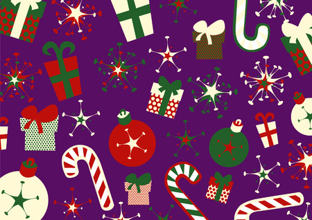 Vector illustration of christmas background. Includes present boxes, candies, flakes and christmas balls. Stock Vector - 3955075