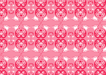 Vector illustration of retro abstract heart pattern on the pink background. Vector