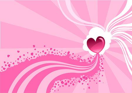 flirty: Illustrazione vettoriale di Flirty sfondo stilizzato di cuori e le onde