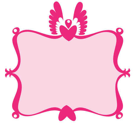 Vector illustration of  retro decorative frame with heart and scroll design elements  Vector