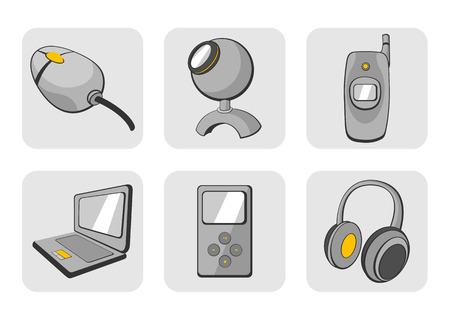 Vector illustration of glossy technological gadgets icons Stock Vector - 3955058