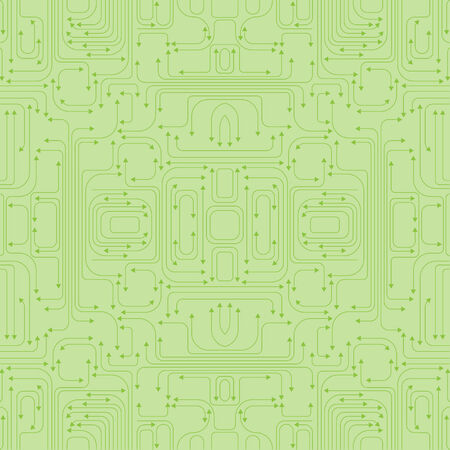 intricacy: Vector illustration of circuit board pattern includes lines and arrows on the green background.