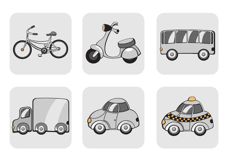 Vector Illustration of transportation icons. Includes bicycle, minibike, bus, track, car and taxi. Vector