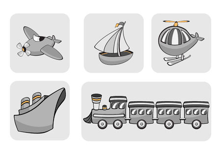 Vector Illustration of transportation icons. Includes airplane, sailboat, helicopter, ship and train. Stock Vector - 3959468