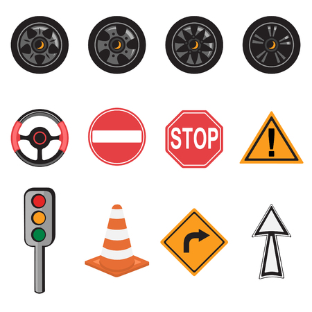 Vector Illustration of transportation icons. Includes wheel rims, steering wheel, traffic light, road and traffic signs. Vector
