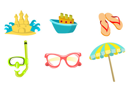 Vector illustration of summer icons. Includes sand castel, boat, flip-flop, snorkel, sunglasses and umbrella. Vector