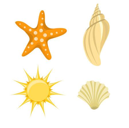 Vector illustration of summer icons. Includes sun, starfish and  sea shelld