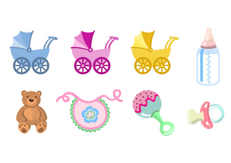 Ilustración vectorial de bebé iconos. Incluye transporte, botella, oso de peluche, babero, chupete y sonajero. Ilustración de vector