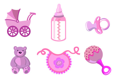 babero: Ilustración vectorial de bebé iconos. Incluye transporte, botella, oso de peluche, babero, chupete y sonajero. Vectores