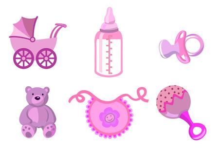 rammelaar: Vector illustratie van baby pictogrammen. Inclusief vervoer, fles, teddy beer, bib, fopspeen en rammelaar. Stock Illustratie