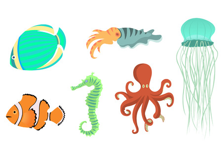 Vector illustration of funny sea animals  icons . Our aquatic friends that you can meet on the while diving.  Vector