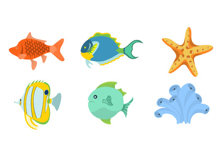 Vector illustration of funny sea animals  icons . Our aquatic friends that you can meet on the while diving.  Illustration