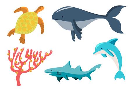 algas marinas: Ilustraci�n vectorial gracioso de animales marinos iconos. Nuestros amigos acu�ticos que se pueden cumplir en el tiempo de buceo.