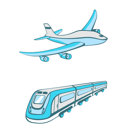 modes: Vector illustration of Modes of transport. Cute transportation icons Illustration