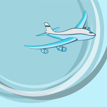 Vector illustration of  Transport Cartoon  . Little blue airplane.  Vector