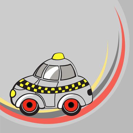 Vector illustration of  Transport Cartoon  . Little funny taxi car .  Vector