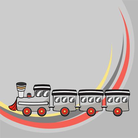 estación del metro: Ilustraci�n vectorial de Transporte Cartoon. Poco gracioso tren.