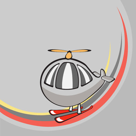 Vector illustration of  Transport Cartoon  . Little funny helicopter Stock Vector - 3959445