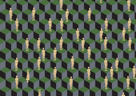Vector illustration of figures on the cube pattern. Retro abstract Background. Vector