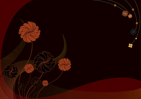 funky background: Vector illustration of  funky Background with dark flowers