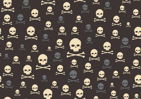 totenk�pfe: Vector illustration der Sch�del und Knochen-Muster auf dem schwarzen Hintergrund
