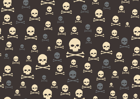 cr�nes: Vector illustration du cr�ne et d'os, motif sur le fond noir
