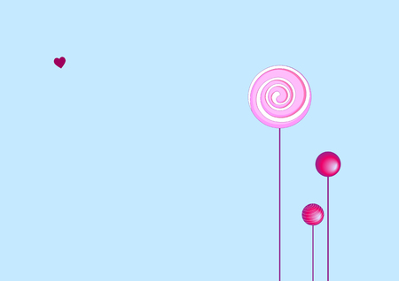 sugarplum: Vector illustration of  funky Background with cool pink Lollipops. Good  for Greeting Cards.