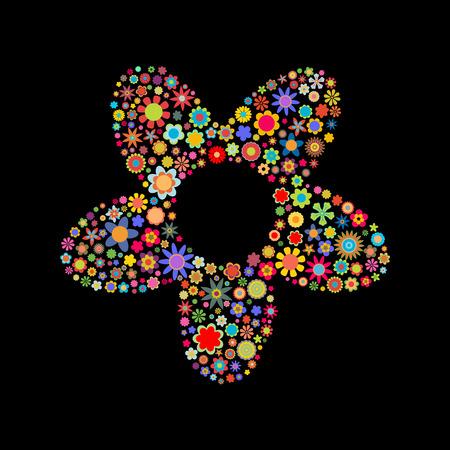 petites fleurs: Vector illustration de la grande forme de fleur fait upof beaucoup de petites fleurs multicolores Illustration