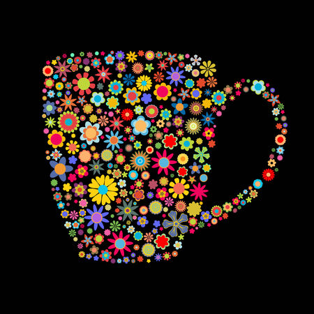 Vector illustration of mug shape made up a lot of  multicolored smalll flowers Stock Vector - 4002729