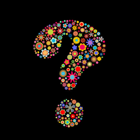 to mark: Vector illustration of question-mark shape made up a lot of  multicolored small flowers on the black background