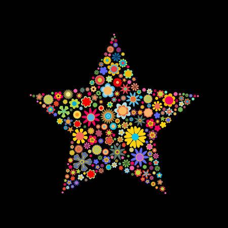 flores peque�as: Ilustraci�n vectorial de forma de estrella formada por un mont�n de peque�as flores multicolores en el fondo negro Vectores