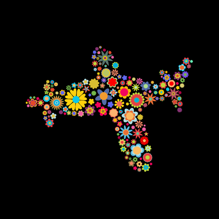 cartoon: Vector illustration of airplane shape made up a lot of  multicolored small flowers on the black background