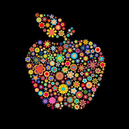 manzana caricatura: Ilustraci�n vectorial forma de manzana formada por un mont�n de peque�as flores multicolores sobre el fondo negro Vectores