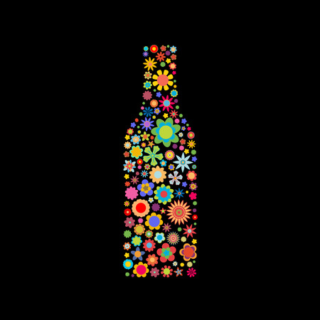 Vector illustration of bottle shape made up a lot of  multicolored small flowers on the black background