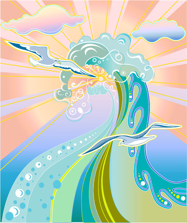 Vector illustration of  summer concept with waves, birds and sunshine. Vector