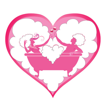 Vector illustration of  heart shape with  Two enamoured in a bathroom  Vector