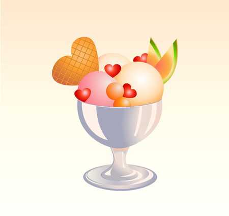 fudge: Vector illustration of  funny  Ice Cream Sundae  with fruits  and heat shape biscuit