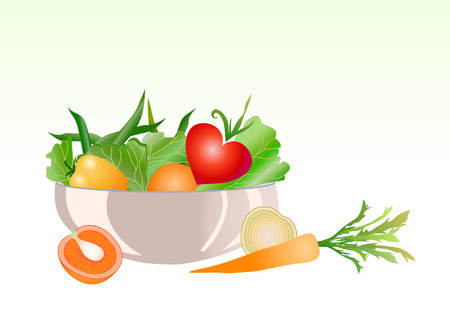 Vector illustratie van verse groente salade met paprika, wortelen en tomaten Vector Illustratie