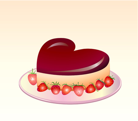 baking cake: Vector illustration of Delicious Dripping Pancake . Good for valentine`s day greeting cards