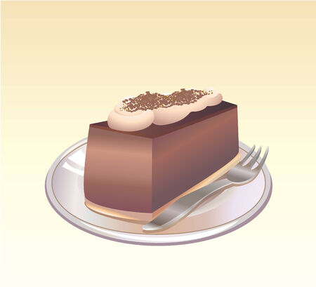 This is a vector illustration of a piece of Chocolate pie on a plate with a fork. Vector