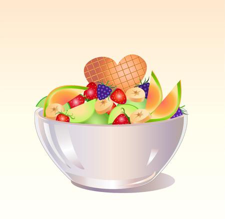 moras: Ilustraci�n vectorial de fresca ensalada de frutas con fresas, pl�tano, moras, manzanas y orandge