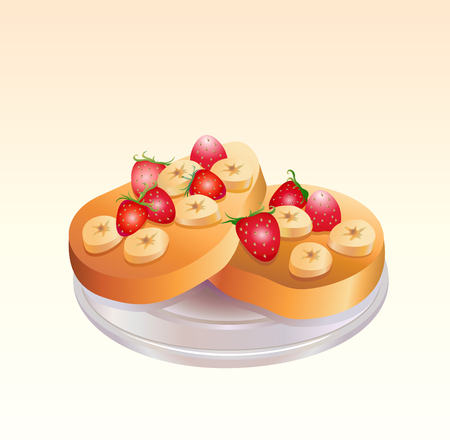 fruitcake: This is a vector illustration of a piece of fruit pie on a plate
