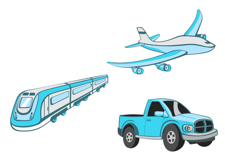 Vector illustration of  Transport Cartoon  . Set of  Funny   blue  car, train and airplane. Vector